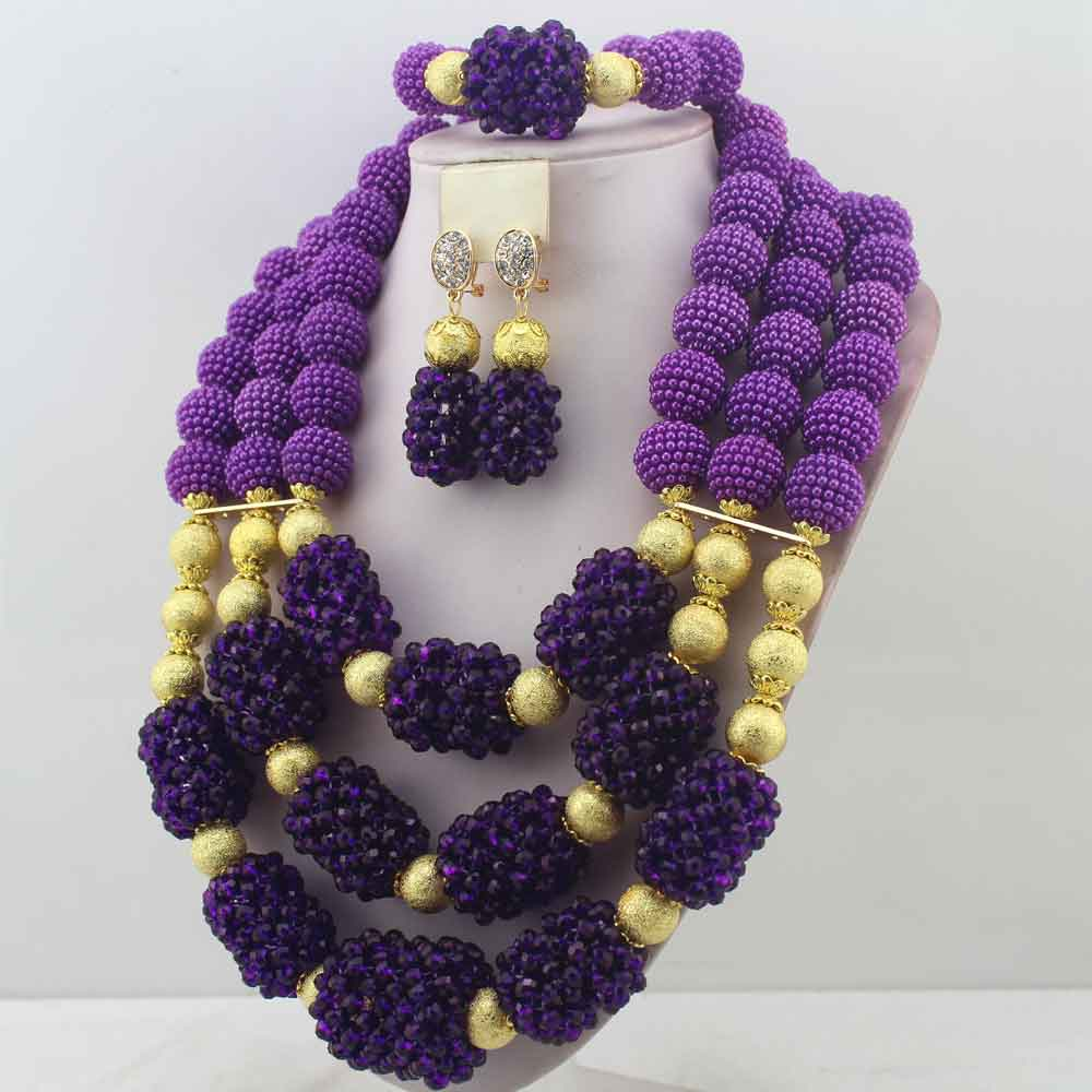 New Handmade Purple Wedding African Bold Beads Jewelry Sets ...