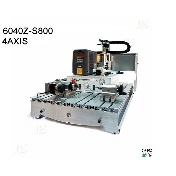 Mach3 cnc milling machine 6040 4axis wood router with 800w water cooling spindle Ball screw rotary axis jft high quality cnc wood router with water tank 4 axis 800w water cooling woodworking machine with parallel port 6040