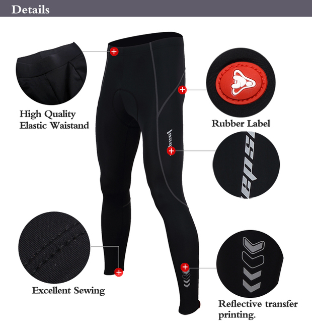 Tasdan Cycling Padded Pants Breathable Anti Bacterial and Shrink Sportswear Bicycle Clothes Men's Cycling Pants