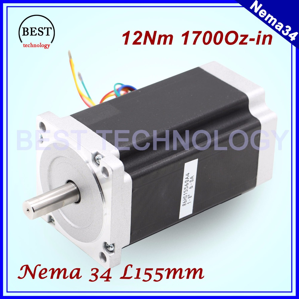 NEMA 34 CNC stepper motor 86X155mm 12 N.m 6A Diameter 14mm Nema34 stepping motor 1700Oz-in for CNC engraving machine high torque