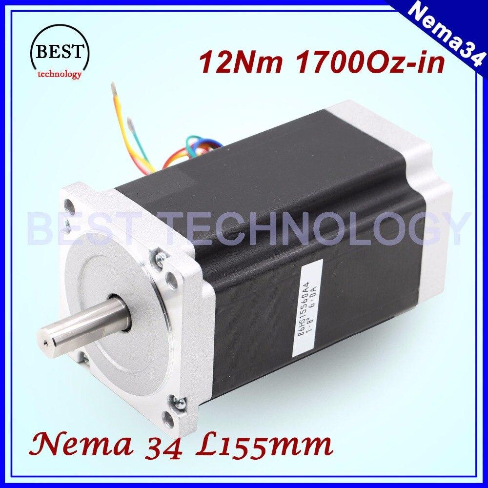 NEMA 34 CNC stepper motor 86X155mm 12 N.m 6A Diameter 14mm Nema34 stepping motor 1700Oz in for CNC engraving machine high torque