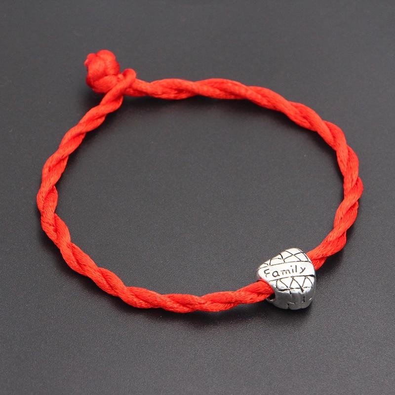 2020 New Family Love Heart Beads 4mm Red Thread String Bracelet Lucky Red Handmade Rope Charm Bracelet for Women Men Jewelry