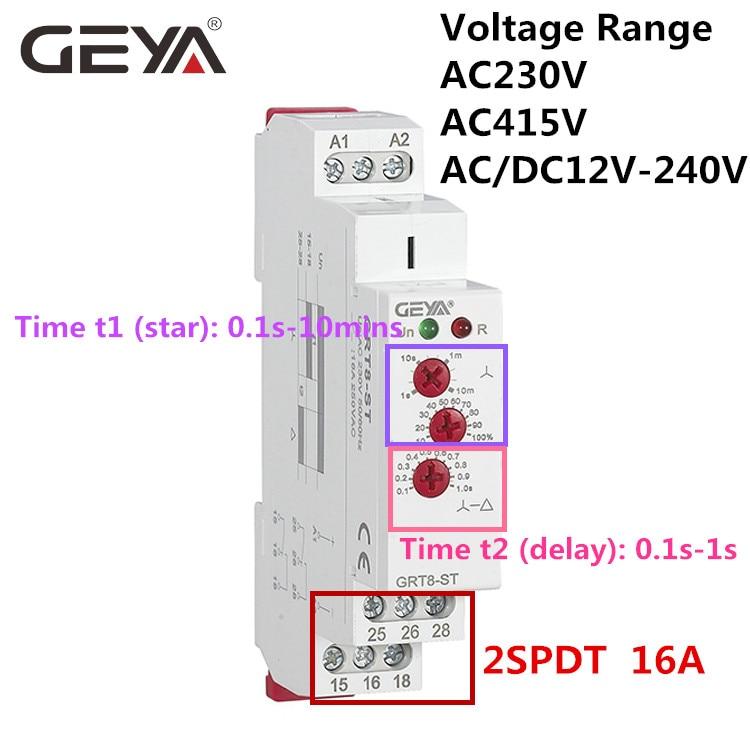 цена на 10PCS Free Shipping GEYA GRT8-ST Delay on Star Delta Timer Soft starter AC230V 415V AC/DC12V-240V Delta Relay Motor Starter