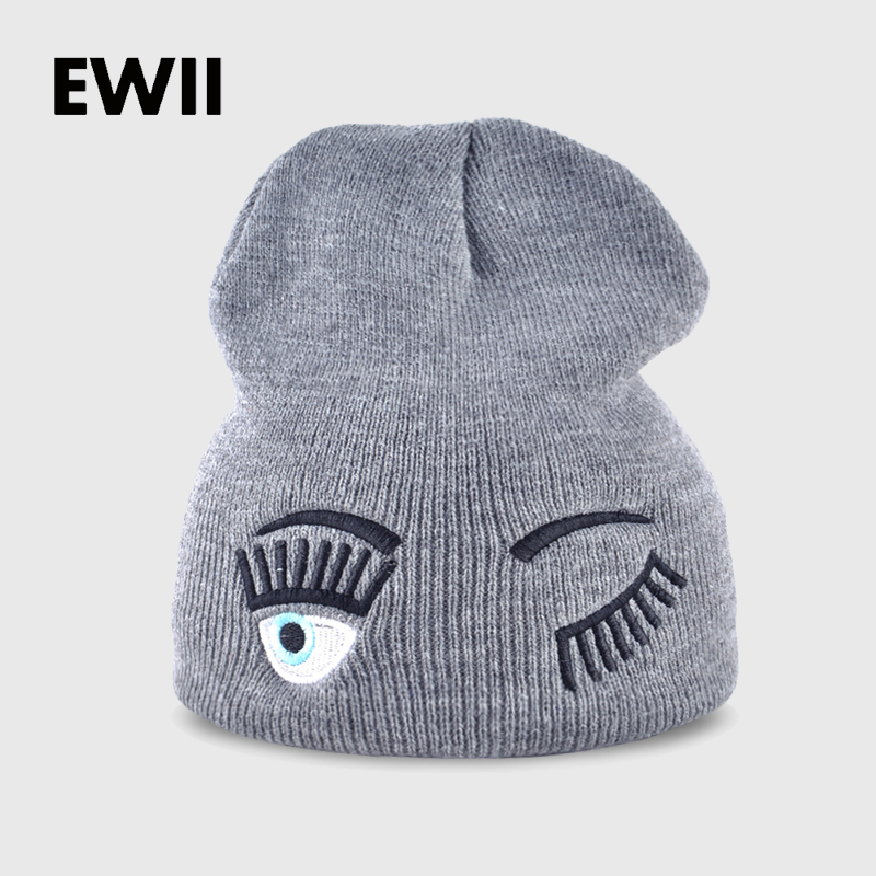 2017 new winter hats for woman striped solid caps girl  Knit cap woman eye lashes facial expression beanies gorro