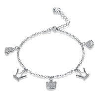 It Is Silver Certificate Pure 100 925 Sterling Silver Bracelet For Women Crown Charms Bracelets Bangles