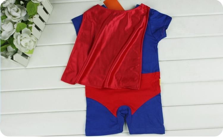 EMS/DHL,, летний хлопковый цельнокроеный комбинезон синего цвета с суперменом для маленьких мальчиков, Летний комбинезон для малышей, 6 шт./партия