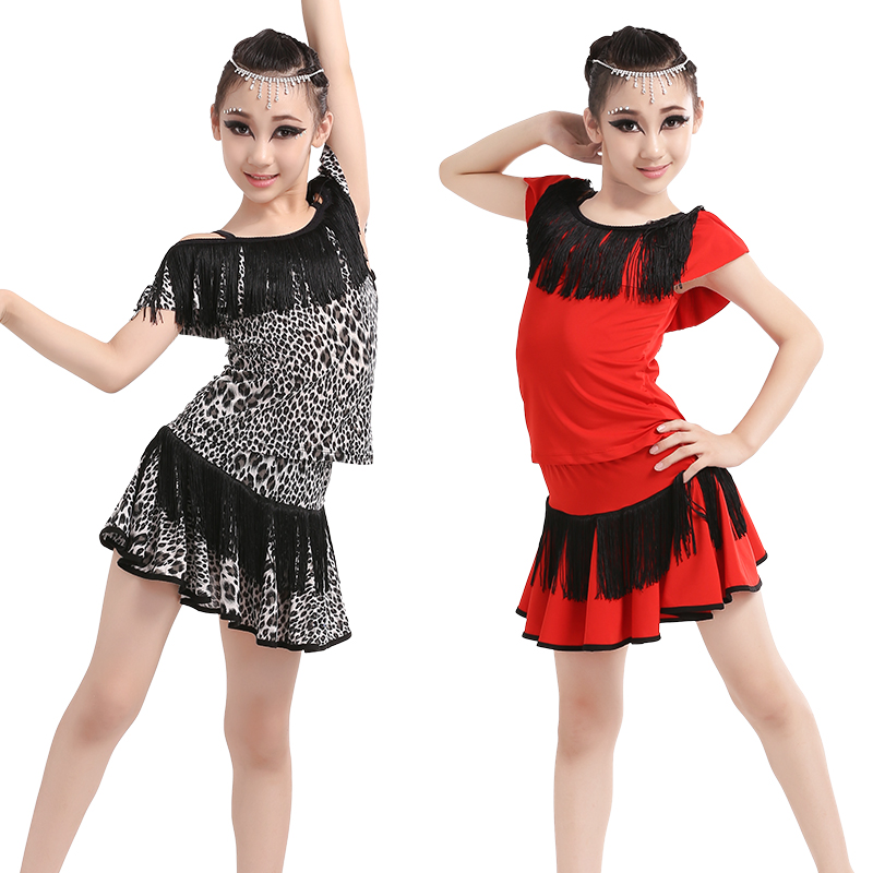 Girls Lotus Leaf Collar Dance Skirt Suit Children Kids Performance Latin Fringe Dress