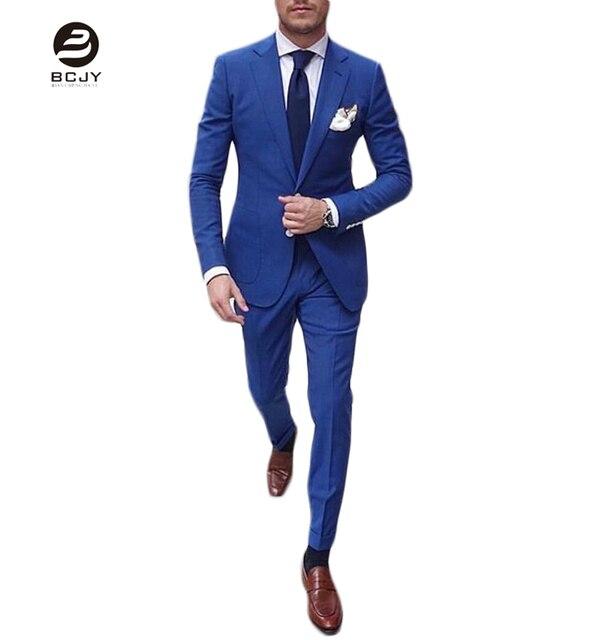Hot Sale Royal Blue Notch Lapel Men Suits 2 Pieces Wedding Suits ...
