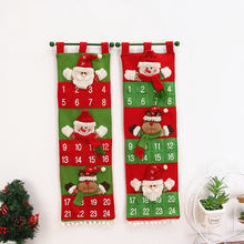 1Pc Christmas Advent Calendar Red Green Door Wall Hanging Decorations For Home