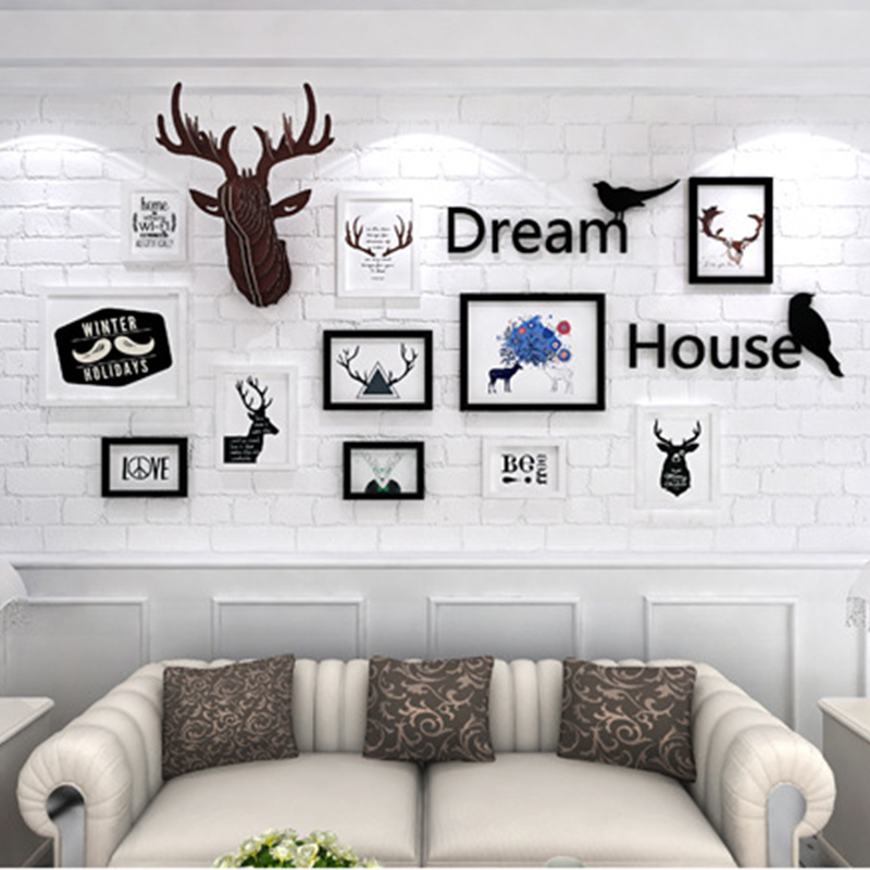 Home Decoration Murals Photo Frame Combination Deer Head Wall Hanging Living Room Photo Frames for Picture