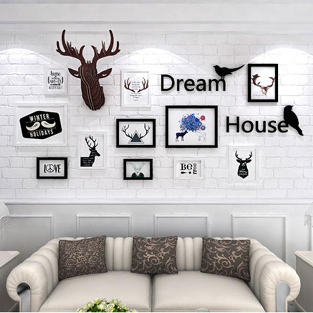 Home Decoration Murals Photo Frame Combination Deer Head Wall
