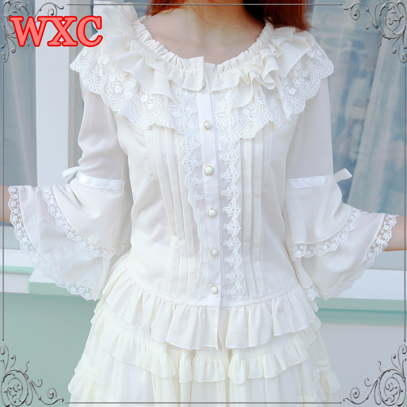 Gothic Peplum Chiffon Blouses For Women Kawaii O Neck Flare Sleeve Black White Lace Tops Lolita Dolores Haze Cosplay Shirt WXC