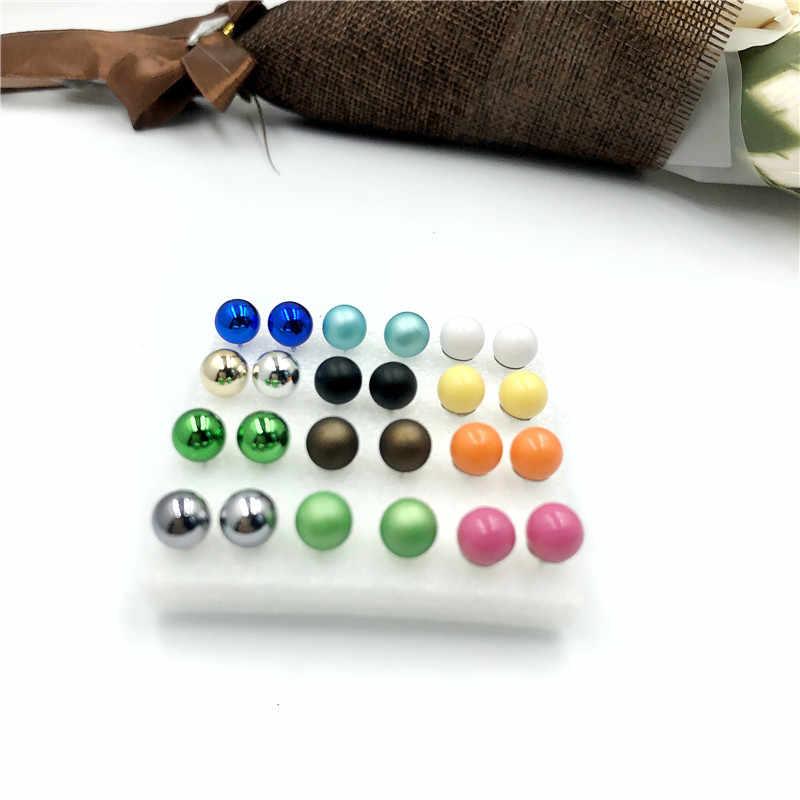 12 זוגות\סט צבעים סימולציה פרל עגילי סט לנשים תכשיטי על אוזן כדור Stud עגילים