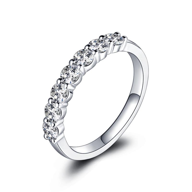 ZHJIASHUN classique 7-pierre diamant Moissanites 0.7ct taille ronde 14 k 585 or blanc bague de mariage pour femmes bijoux en diamant