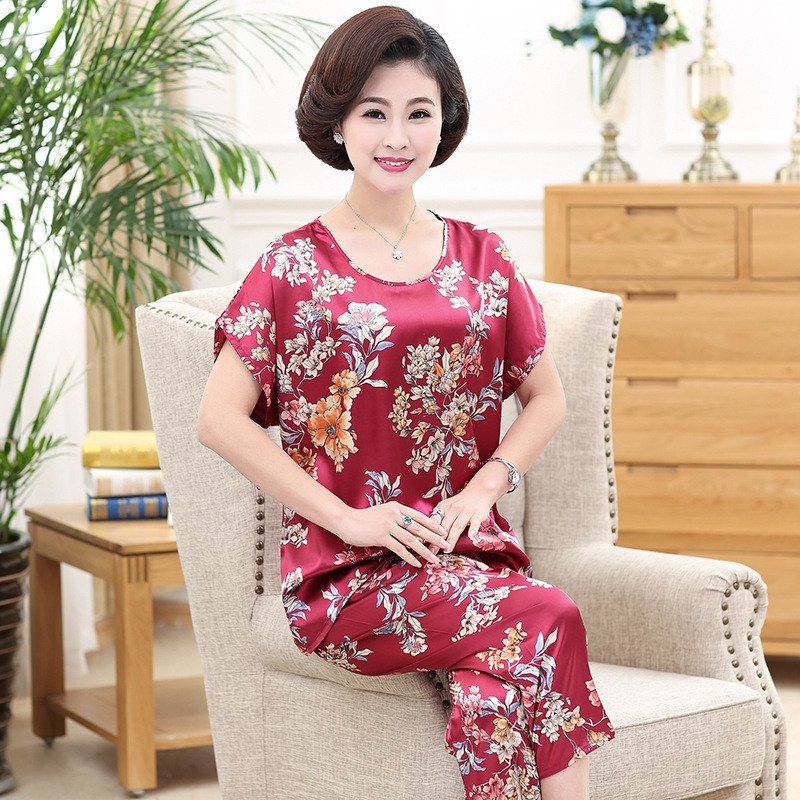 Women Sleepwear Suit Plus Size 5XL Mother Pajamas Set 2019 Ice Silk 2 Piece Nightwear Casual Short Sleeves Pant Home Clothes 554