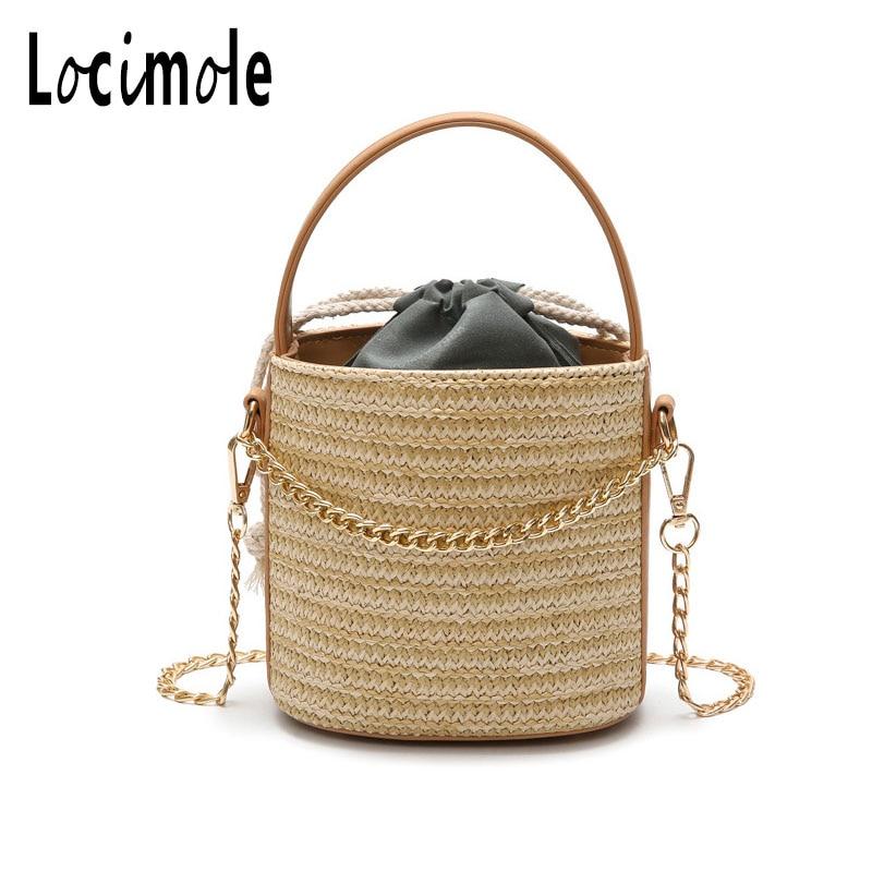 Locimole Weaved Designer Beach Bag Women Travel Knitted Straw Tote Bucket Chain Women Designer Shoulder Bag Holiday BIW196 PM49