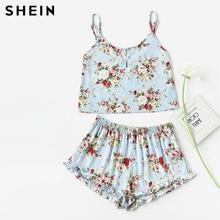 SHEIN Blue Flower Print Pearl Button Front Cami Ruffle Shorts Pajama Set Women Spaghetti Strap Sleeveless