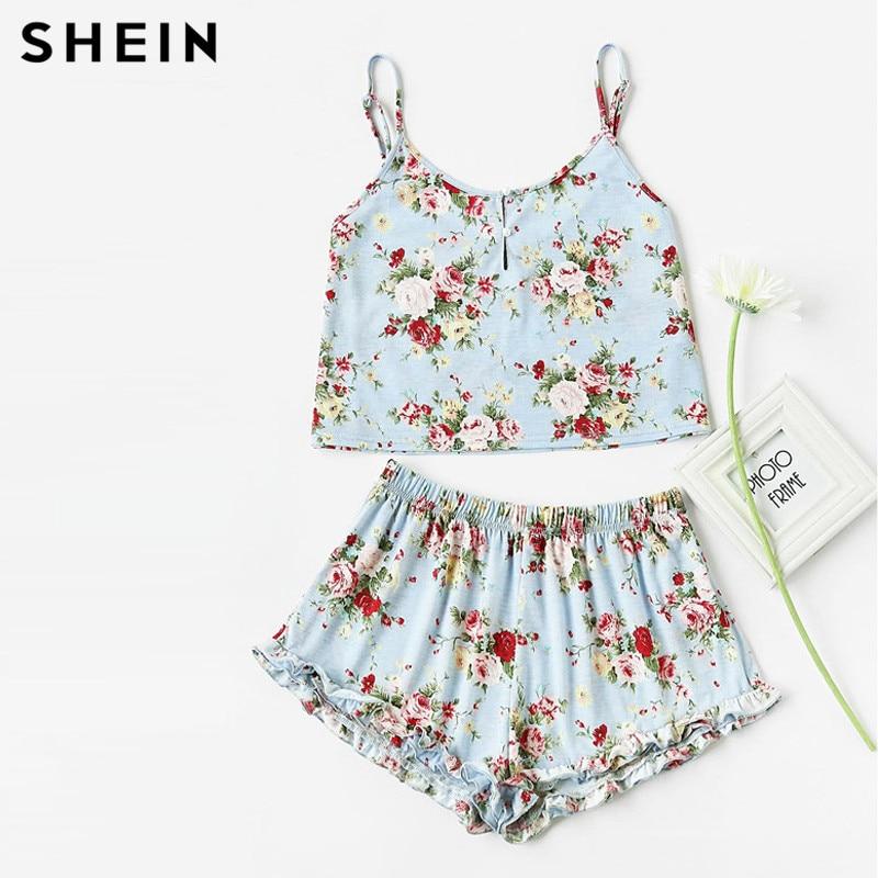 SHEIN Blue Flower Print Pearl Button Front Cami Ruffle Shorts Pajama Set Women Spaghetti Strap Sleeveless Sexy Sleepwear