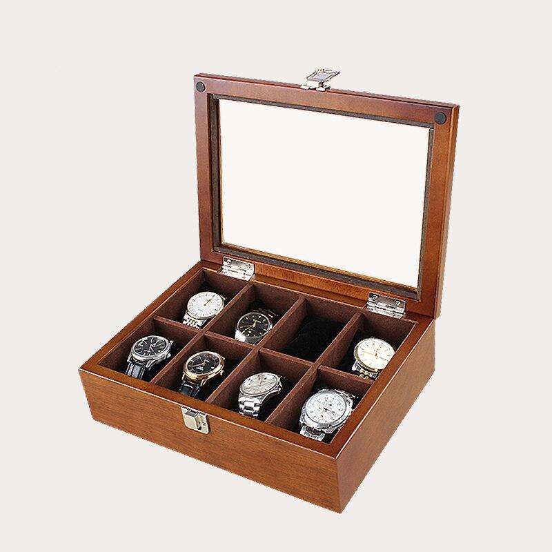 Han 8 fentes bois boîte de montre boîtier café montre organisateur newmécanique montre boîtiers de rangement bijoux boîte en bois