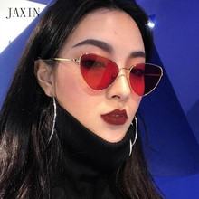 JAXIN New Cat Eye Sunglasses Women metal frame triangle Lady Sun Glasses Ms brand design trend personality glasses UV400 okulary triangle insert metal cat eye sunglasses