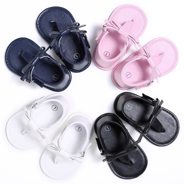 shoes for cheap premium selection on feet shots of US $3.52 |Newborn Kids Baby Girls Anti slip Flip flops Baby Bow Soft Sole  Shoes Slippers Baby Girl Princess Crib Prewalker Shoes-in First Walkers  from ...