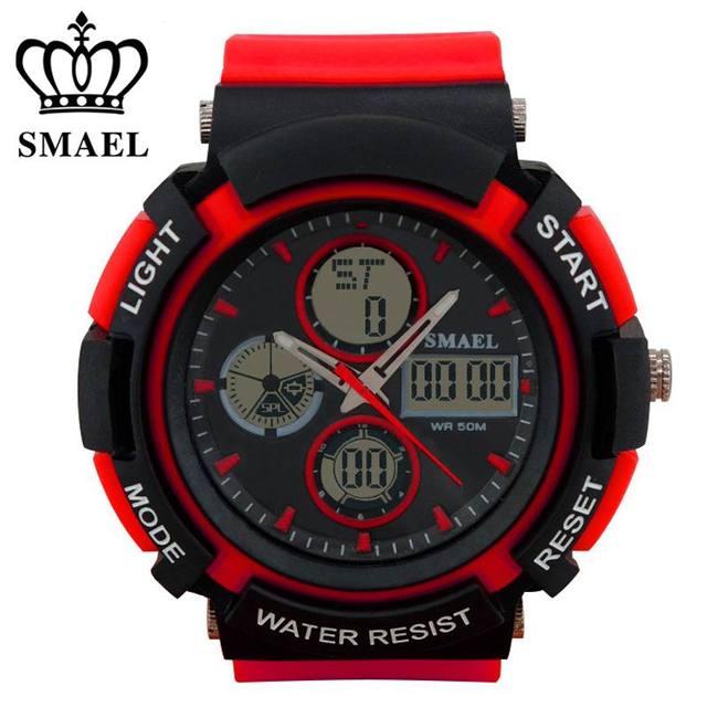 SMAEL New Men Sport Watch Dual Display Analog Digital LCD Electronic Quartz-Watches Man Waterproof Swimming Wrist Watches Male