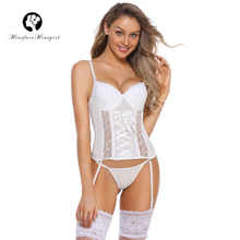 Minifaceminigirl Sexy Corsets And Bustiers Women High Quality white Push Up Lingerie Firm Overbust Lace Up Bustier Corset high quality openwork lace black spandex corsets garters for women