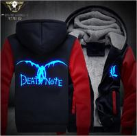 2017 New Fashion Style Dropshiping USA Size New Death Note Luminous Jacket Sweatshirts Thicken Hoodie Coat