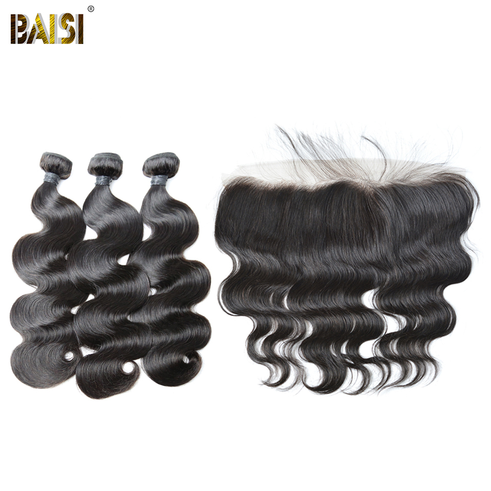BAISI Lace Frontal with 3pcs Body Wave Brazilian Remy Hair Weave Nature Color 100% Human Hair Extensions 10-28inch Free Shipping