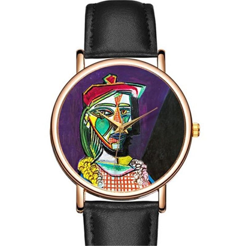 B-9210 Fashion Artistic Watches Women Genuine Leather Rose Gold Case Wrist Watches Ladies Analog Quartz Clock Relojes Feminino