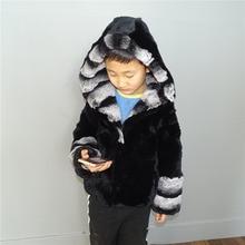 Детская одежда с мехом кролика Пальто из натурального меха