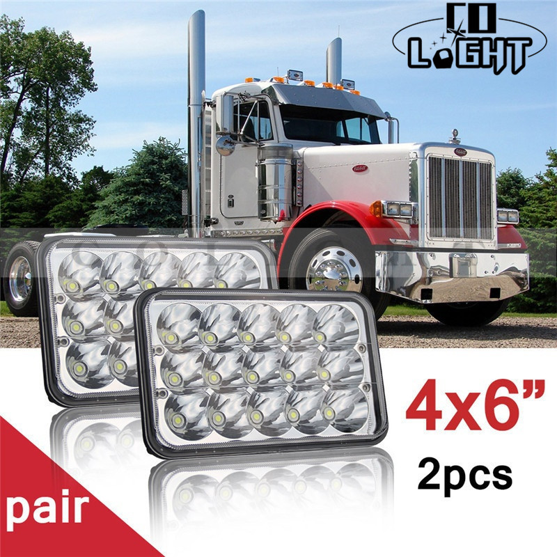 CO LIGHT 4X6inch Rectangle Led Headlight 45W High Low 18W Auto Daytime Running Lights for Gmc C4500/C5500 Kenworth Truck 12V 24V