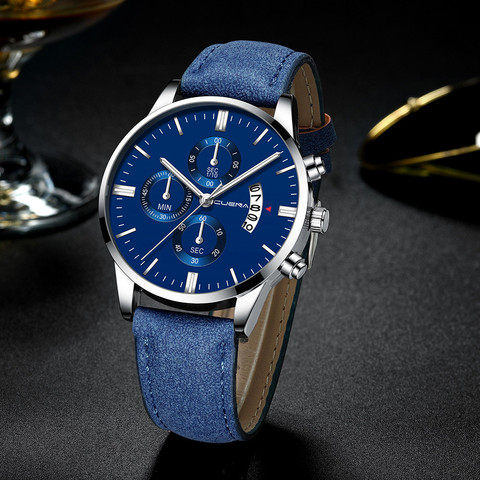 Mens Wrist Watch Stainless Steel Case Leather Band Quartz Analog watch man watches mens 2019 relogio masculino Lahore