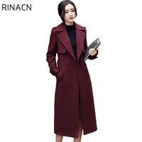 2017 New Autumn Winter Coat Women Woolen Coat Elegant Long Coat With Belt Female Thicken Warm