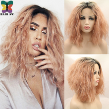 Peach Synthetic Lace Front Wig Natural Beachy waves Ombre black dark roots soft Bob mid-lengt Heat Resistant hair wigs for women