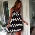 Summer Women Harness Dress Wave Pattern Tassel Chiffon Dress Sexy V Neck Sleeveless Personality Tassel Design Large Size