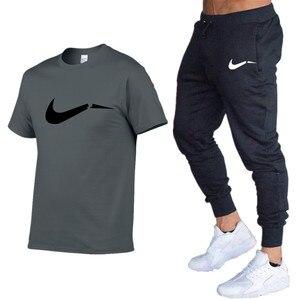 الصيف الرجال T-قمصان + السراويل اثنين من قطعة بدلة جودة قصيرة الأكمام الجمنازيوم الملابس الرجال رياضة العضلات القطن اللياقة البدنية تجريب ال...
