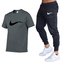 Summer Men T-Shirts+Pants Two Piece Suit Quality Short Sleeve Gyms Clothing Men Gym Muscle Cotton Fitness Workout Men's Sets