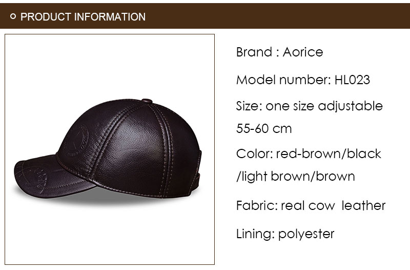 Genuine Leather Embossed Mens Baseball Cap - Product Information