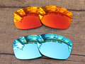 Fire Red & Ice Blue 2 Pairs Mirror Polarized Replacement Lenses For Jupiter Squared Sunglasses Frame 100% UVA & UVB Protection