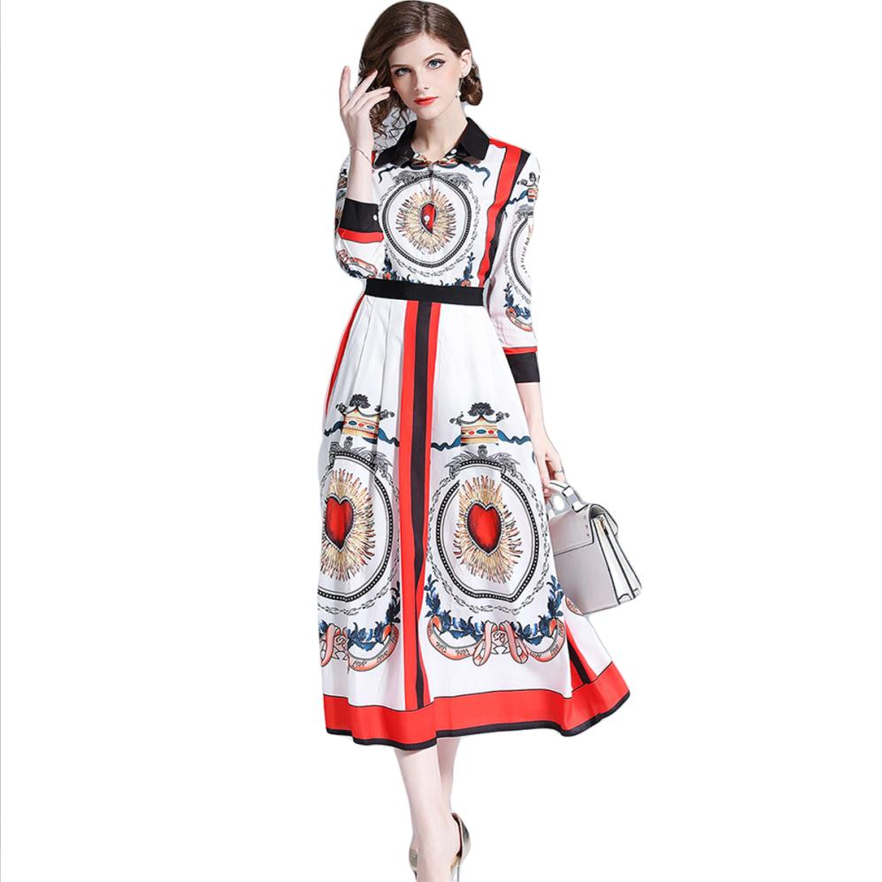 142d067f17 Patchwork Heart Print Women Long Runway Dress Shirt Elegant Chiffon Summer  Dresses Casual Maxi Dress Vestido