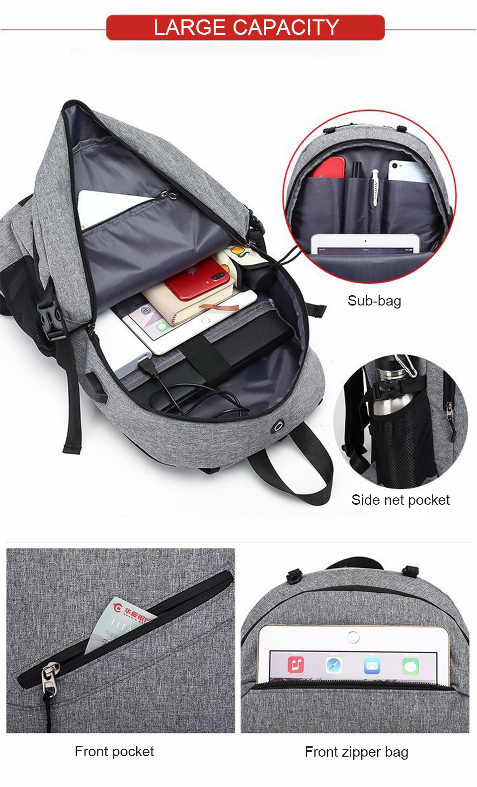 Travel Backpack Student Backpacks Laptop Notebook Back Pack Men Male Waterproof Bagpack USB Charging School Bags For Teenagers (6)