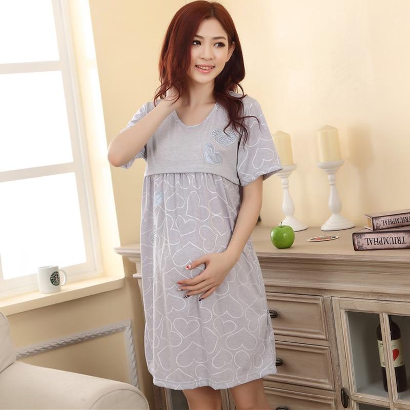 Nursing Dress Cotton Maternity Sleepwear Pregnancy Dresses Breastfeedimg Pregnant Women Nightgown Short Sleeve M1MO98