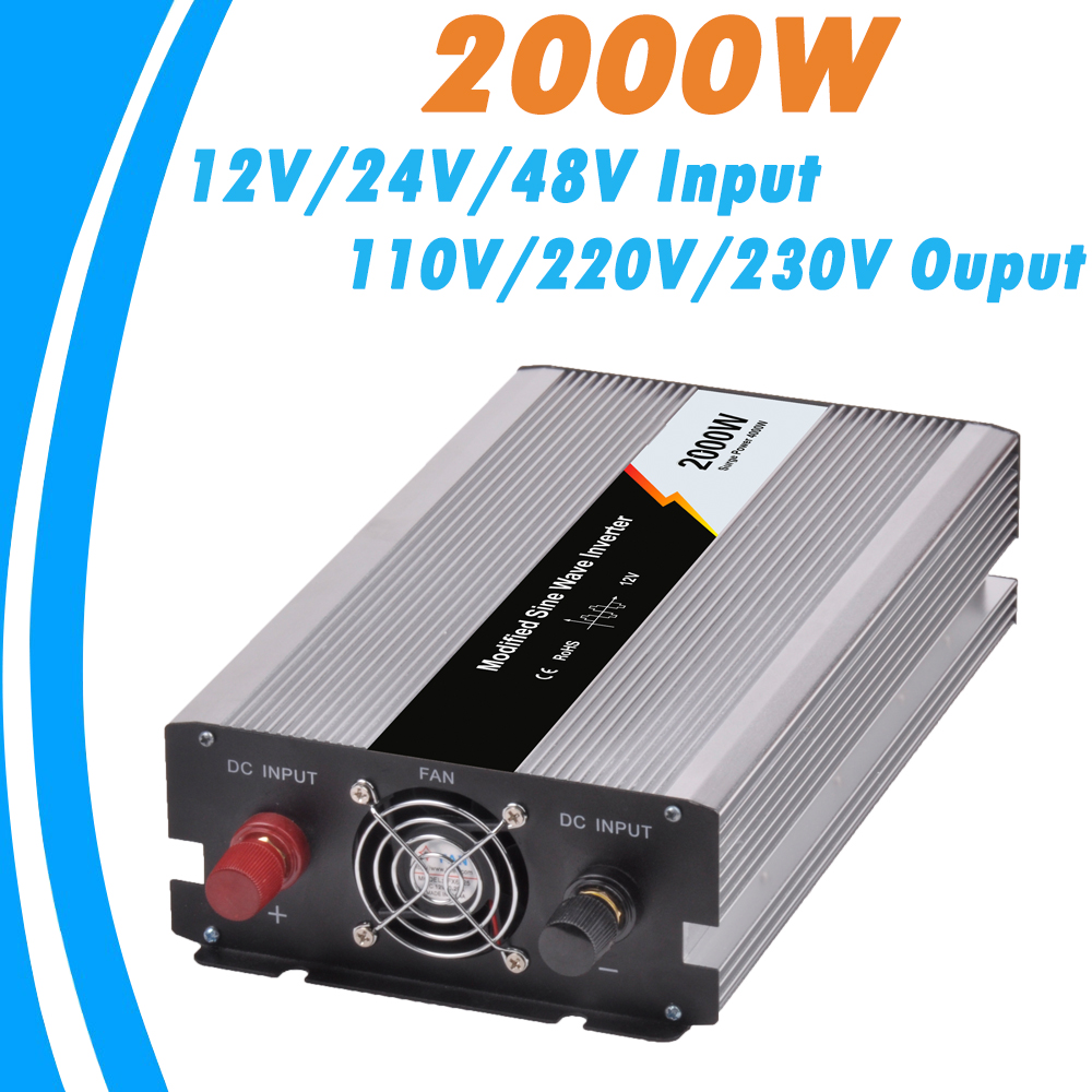 2000W Modified Sine Wave Off Grid Tie Inverter Optional 12V/24V/48V DC Input and 110V/220V AC Output Microprocessor Based Design free shipping 600w wind grid tie inverter with lcd data for 12v 24v ac wind turbine 90 260vac no need controller and battery