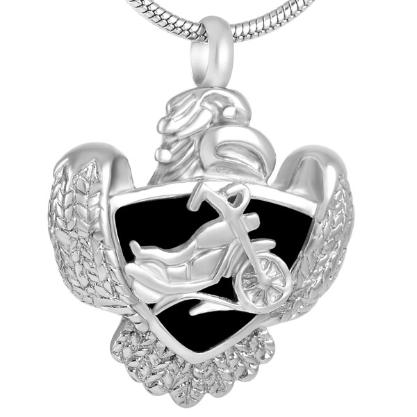 IJD8225 Condor with Motorcycle Memorial Urn Necklace for Men,Fashion Design Stainless Steel Keepsake Cremation Pendant for Ashes