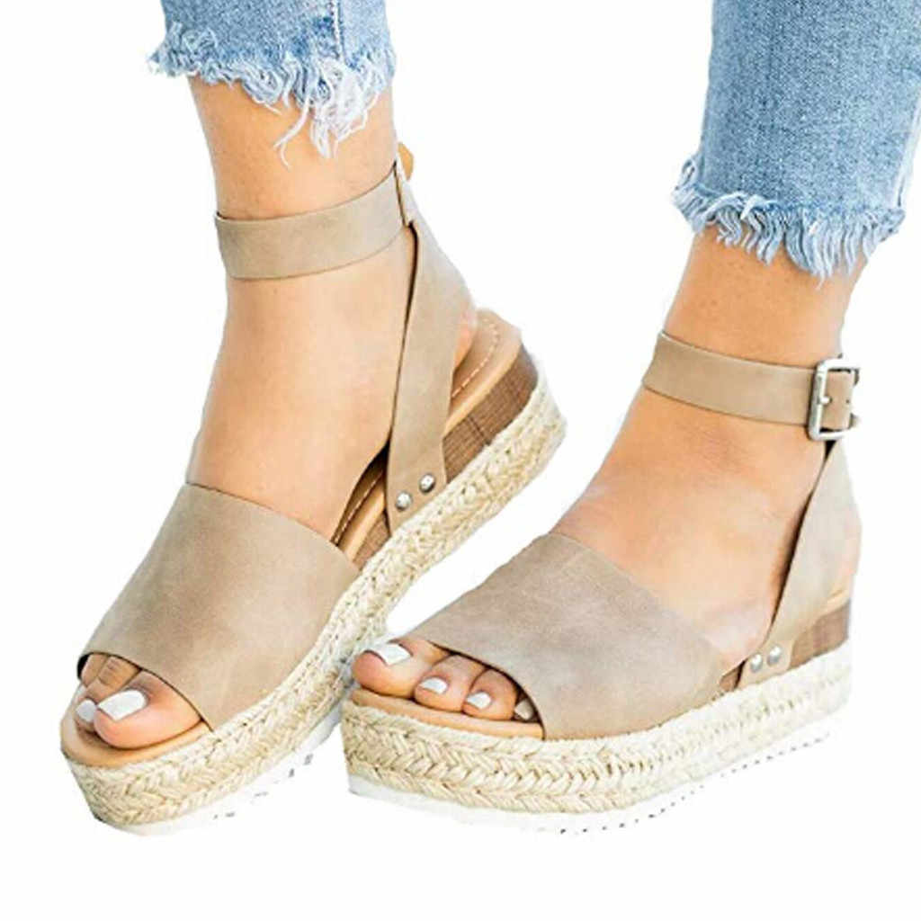fe52682b63 Summer Sandals Shoes Woman 2019 Zapatos De Mujer Casual Women's Rubber Sole  Studded Wedge Buckle Ankle