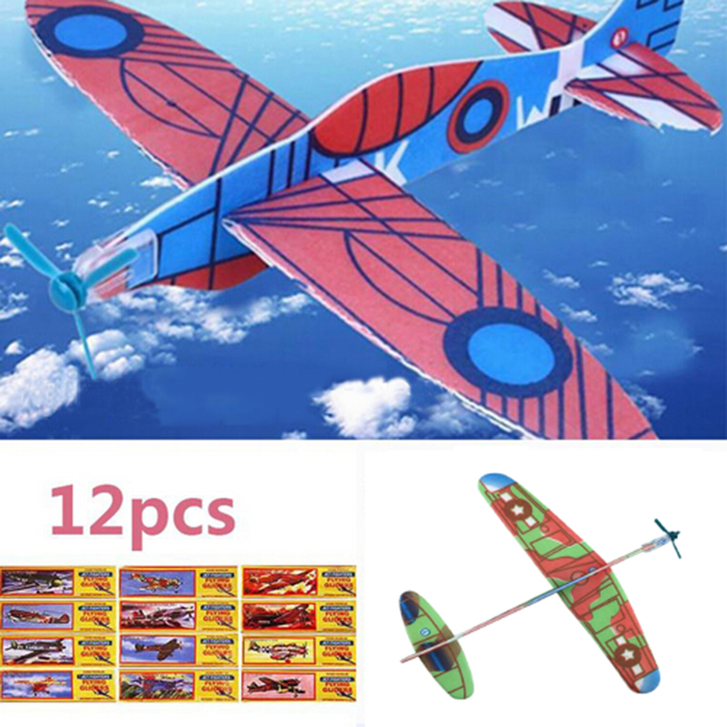 12Pcs Hot DIY Hand Throw Flying Glider Planes Foam Airplane Party Bag Fillers Children Kids Toys Game