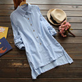 Spring Casual Cotton Linen Irregular Hem Solid Loose Long Turn Down Collar Female Mori Girl Shirt Blouses Women U600