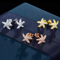 2016 Fashion Full Cubic Zirconia Sea Star Starfish Stud Earrings for Women Jewelry Vintage 925 Sterling Silver Stud Earrings