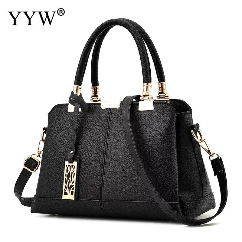 Black Large Capacity Women Handbag Totes Shoulder Bag Pu Leather Ladies Top Handle Hand Bags Designer Office Work Formal Bag New